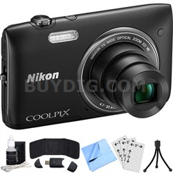 COOLPIX S3500 20.1MP Digital Camera w/ 720p HD Video (Black) Refurbished Bundle
