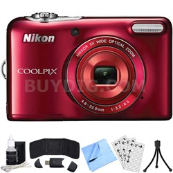 COOLPIX L30 20.1MP 5x Opt Zoom HD 720p Digital Camera (Red) Refurbished Bundle
