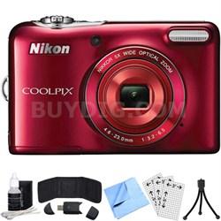 COOLPIX L30 20.1MP 5x Opt Zoom HD 720p Digital Camera (Red) Refurbished Bundle
