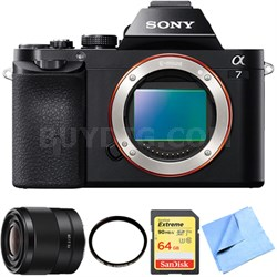 a7 Full-Frame Interchangeable Lens Digital Camera 28mm Prime Lens Bundle