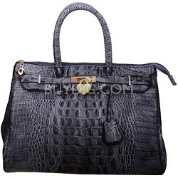 3D Designer Inspired Croc Handbag in Heather Grey