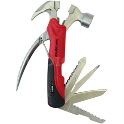 Premium Travel Deluxe 11-in-1 Stainless Steel Hammer Multi Tool in Red and Black