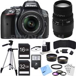 D5300 DX-Format Digital SLR Camera Kit w/ 18-55mm + 70-300mm Lens Grey Bundle