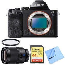 ILCE-7S/B a7S Full Frame Mirrorless Camera 35mm Prime Lens Bundle