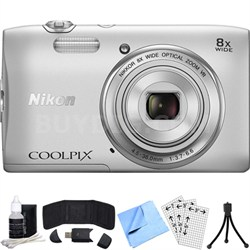COOLPIX S3600 20.1MP Digital Camera with 8X Optical Zoom Refurbished Bundle