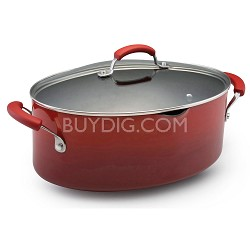 Hard Enamel 8 Qt. Covered Oval Pasta Pot with Pour Spout - Red (11540)