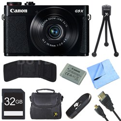 PowerShot G9 X Digital Camera with 3x Optical Zoom Deluxe 32GB Bundle - Black