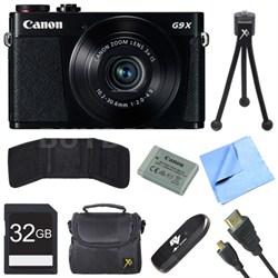 PowerShot G9 X Digital Camera with 3x Optical Zoom Deluxe 32GB Bundle - Black