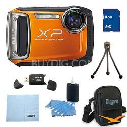 Finepix XP100 14MP CMOS Digital Camera 8 GB Bundle (Orange)