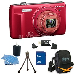 8 GB Kit VR-340 16MP 10x Opt Zoom 3-inch LCD Digital Camera - Red