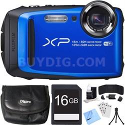 FinePix XP90 16 MP Waterproof Digital Camera Blue 16GB SDHC Card Bundle