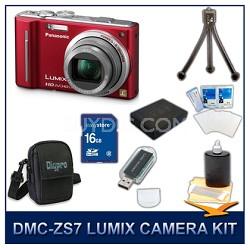 DMC-ZS7R LUMIX 12.1 MP Digital Camera (Red), 16GB SD Card, and Camera Case