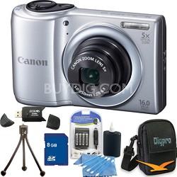 PowerShot A810 16MP Silver Digital Camera 8GB Bundle