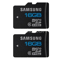 microSD High Speed 16GB Class 6 Memory Card (Two Pack) Bulk Packaged