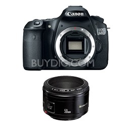 EOS 60D SLR Digital Camera with EF 50mm F/1.8 II Standard Auto Focus Lens