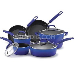 Porcelain Enamel II Nonstick 10-Piece Cookware Set. Blue Gradient