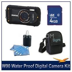 Optio W90 Water Proof Compact Digital Camera 4GB Black Bundle