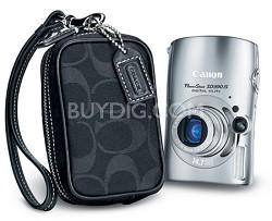Powershot SD990 IS 14.7 MP Digital ELPH Camera (Silver) & COACH Case