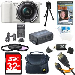 a5100 Mirrorless Camera w/ 16-50mm Lens 32GB White Kit