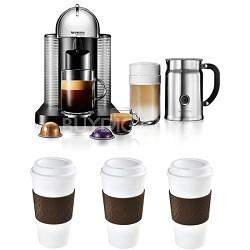 VertuoLine Coffee/Espresso Maker (Chrome) Reusable To Go Mug 3-Pack Bundle