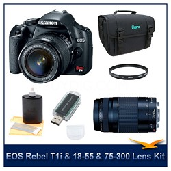 EOS Digital Rebel T1i Black w/ 18-55 & 75-300 III Lenses