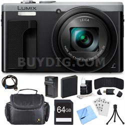 ZS60 LUMIX 4K 18 MP Digital Camera with Wi-Fi - Silver (DMC-ZS60S) 64GB Bundle