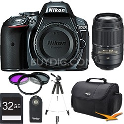 D5300 DX-Format 24.2 MP DSLR (Gray) with 55-300mm VR Pro Lens and Memory Bundle