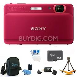 "Cyber-shot DSC-TX55 Red Slim Digital Camera 3.3"" OLED Touchscreen w/ 4GB Kit"