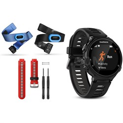 Forerunner 735XT GPS Running Watch Tri-Bundle with Red Band - Black/Gray