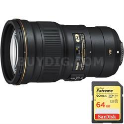 AF-S NIKKOR 300mm f/4E PF ED VR Lens w/ Lexar 64GB Class 10 Memory Card