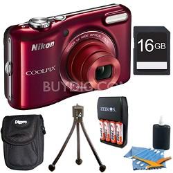 COOLPIX L28 20.1 MP 5x Zoom Digital Camera - Red Plus 16GB Memory Kit
