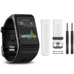 vivoactive HR GPS Smartwatch - X-Large Fit (Black) White Band Bundle