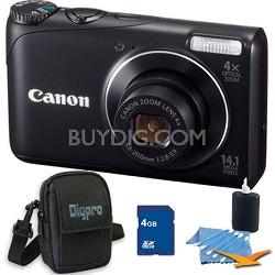 PowerShot A2200 14MP Black Digital Camera 4GB Bundle