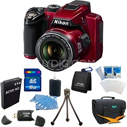Coolpix P500 12MP Red Digital Camera 16GB Bundle