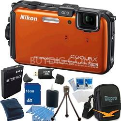 COOLPIX AW100 16MP Waterproof Shockproof Freezeproof Orange Camera 16GB Bundle