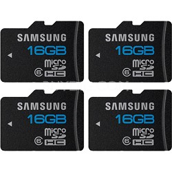 microSD High Speed 16GB Class 6 Memory Card Four Pack (Bulk Packaging)