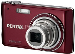 "Optio P70 2.7"" LCD, 12 MP, 4x Optical Zoom Digital Camera (Red)"