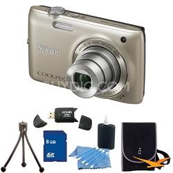 COOLPIX S4100 14MP Silver Digital Camera 8GB Bundle