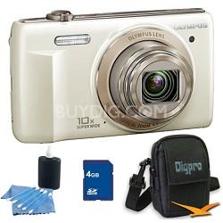 4 GB Kit VR-340 16MP 10x Opt Zoom 3-inch LCD Digital Camera - White
