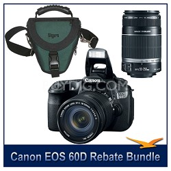 EOS 60D Camera w/ 18-135mm & 55-250mm Lenses and Case Bundle
