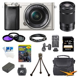 Alpha a6000 24.3MP Silver Interchangeable Lens Camera 16-50mm & 55-210mm Kit
