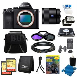 Alpha 7R a7R Digital Camera, 55mm Lens, 2 64 GB SDXC Cards, 2 Batteries Bundle