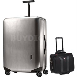 "Inova Luggage 30"" Hardside Spinner (Silver) Plus Wenger Laptop Boarding Bag"