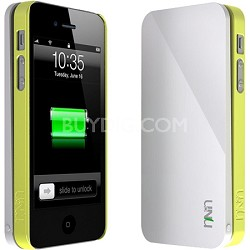 Ecopak iPhone 5 Case Snap-on Case and Detachable Battery (White/Leaf Yellow)