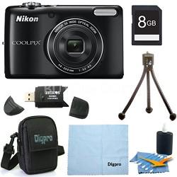 COOLPIX L26 16.1 MP 3.0-inch LCD Digital Camera 8GB Black Bundle