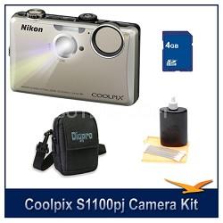 COOLPIX S1100pj Silver Digital Camera Kit w/ 4 GB Memory, Case, & More