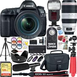 EOS 5D Mark IV DSLR Camera + EF 24-70mm & 100-400mm IS USM Lens Accessory Bundle