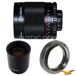 500M / 1000mm f/8.0 Mirror Lens for Sony Alpha / Minolta with 2x Multiplier