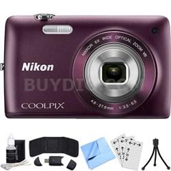 COOLPIX S4300 16MP 3-inch Touch Screen Digital Camera (Plum) Refurbished Bundle