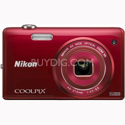 COOLPIX S5200 16 MP Built-In Wi-Fi Digital Camera - Red